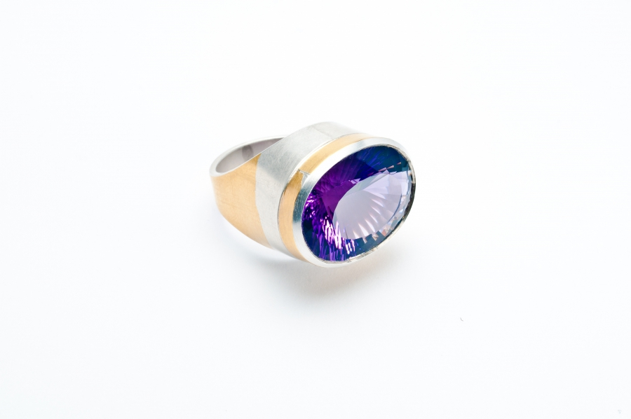 Keumbo Amethyst Ring (Silber und gold 999)