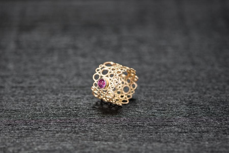 Bubble Ring, Gold 750, magenta Turmalin