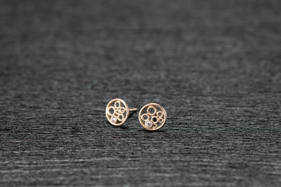 Bubble Ohrstecker klein, Gold 750 und Brillanten