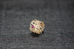 Bubble Ring, Gold 750, magenta Turmalin