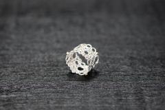Bubble Ring, Silber 925 mit Goldkügelchen 750 und Safirchen