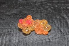 Crin Brosche orange, Pferdehaar, Silber 925