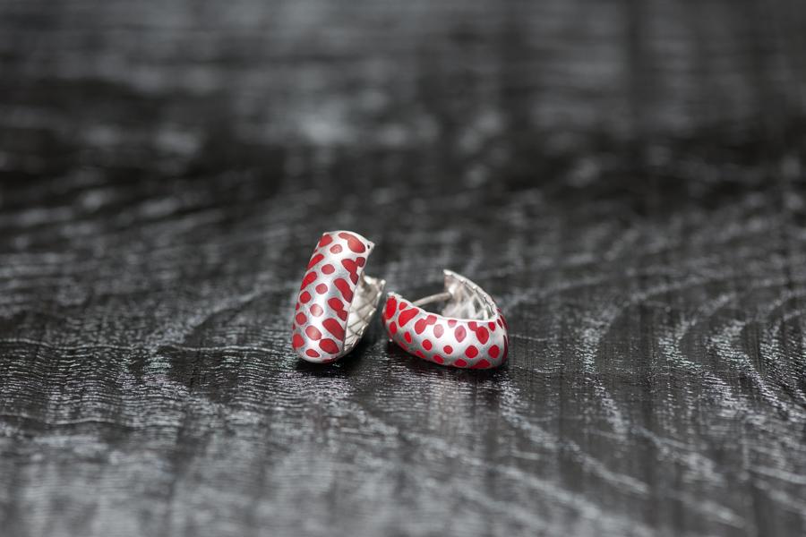 Urushi-Faltcreolen klein, Silber 925, urushi