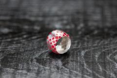 Urushi-Faltring rot breit-1, Silber 925, urushi