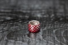 Urushi-Faltring rot breit-2, Silber 925, urushi