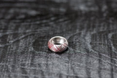 Urushi-Faltring Schottenmuster, Silber 925, urushi