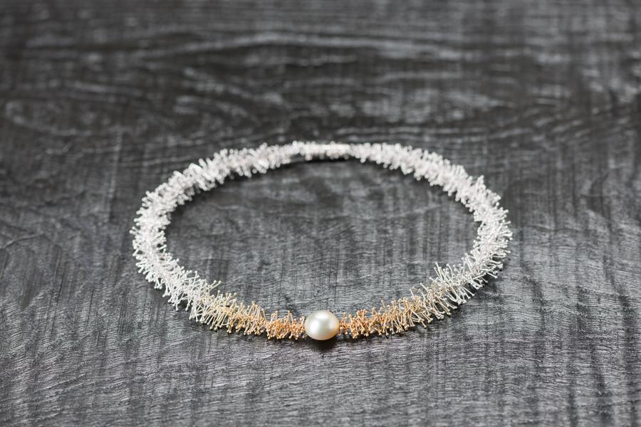 Kette Mille, Perle aus dem Toten Meer, Silber 925 und 999, diverse Goldlegierungen