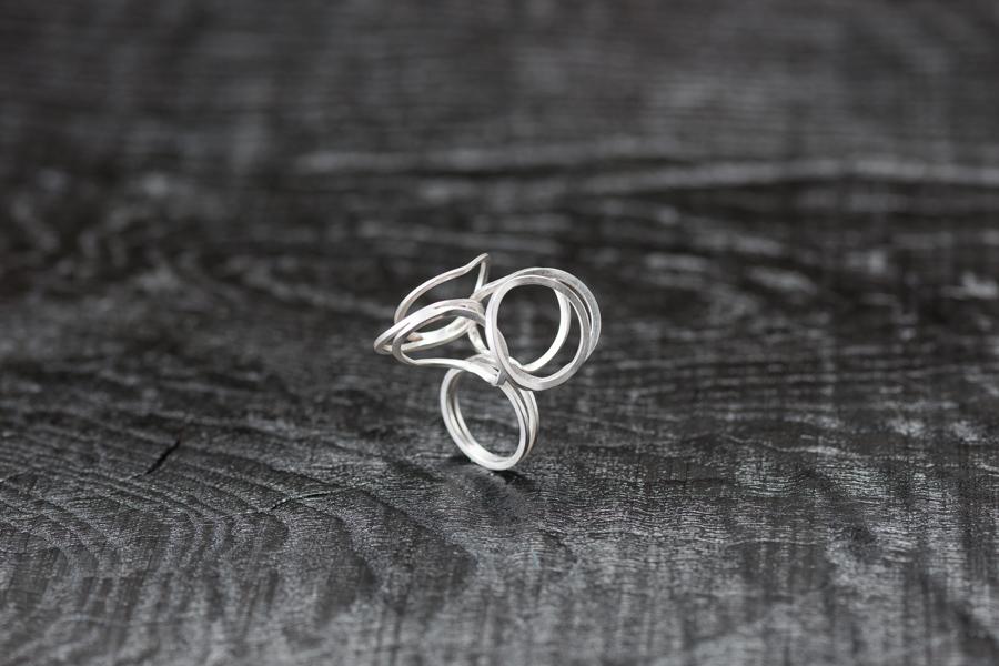 Ring Lamellen wild, Silber 925