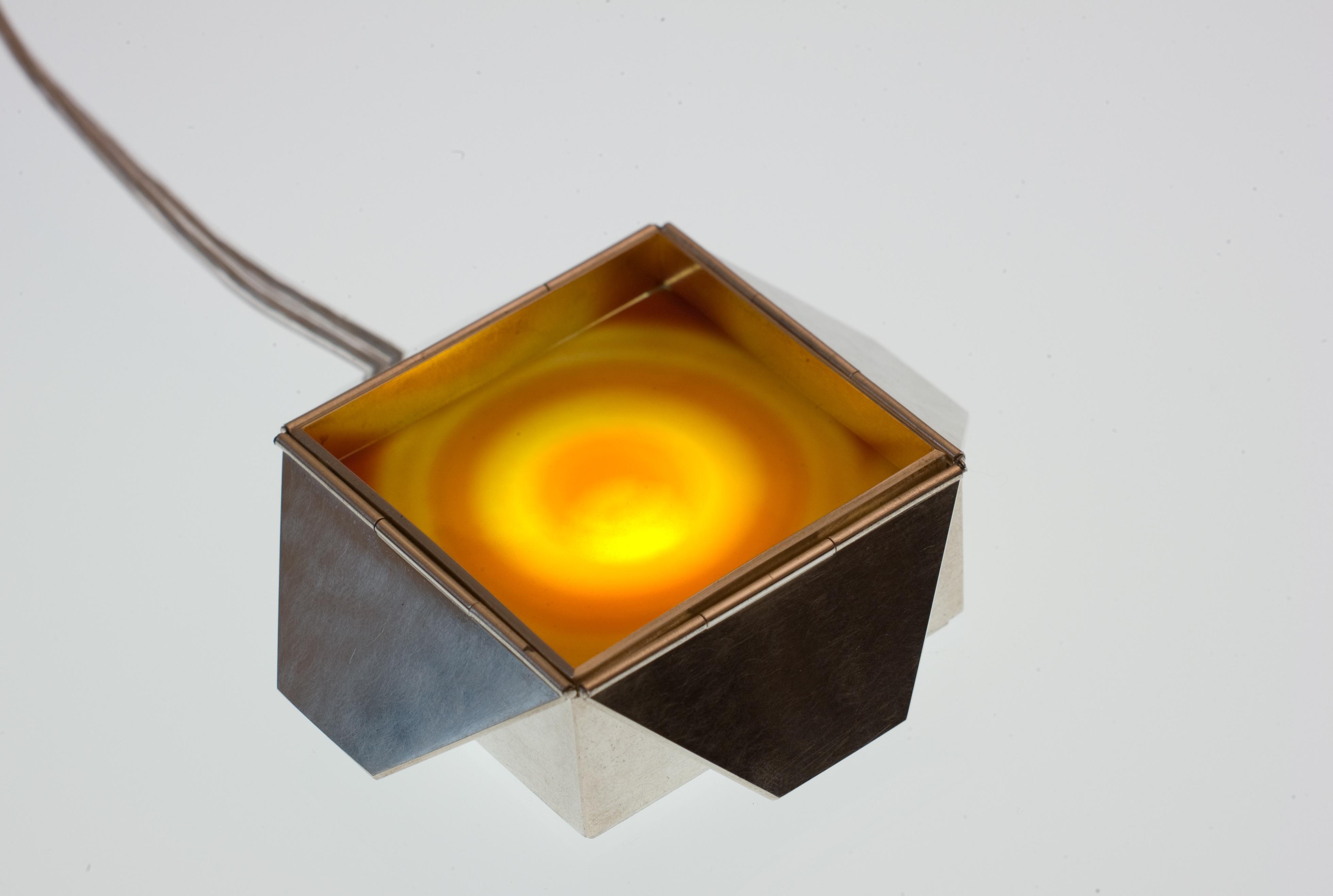Schmucklicht 'Schachtel', Achatscheibe, Silber 925 geschwärzt, LED – Bild 1