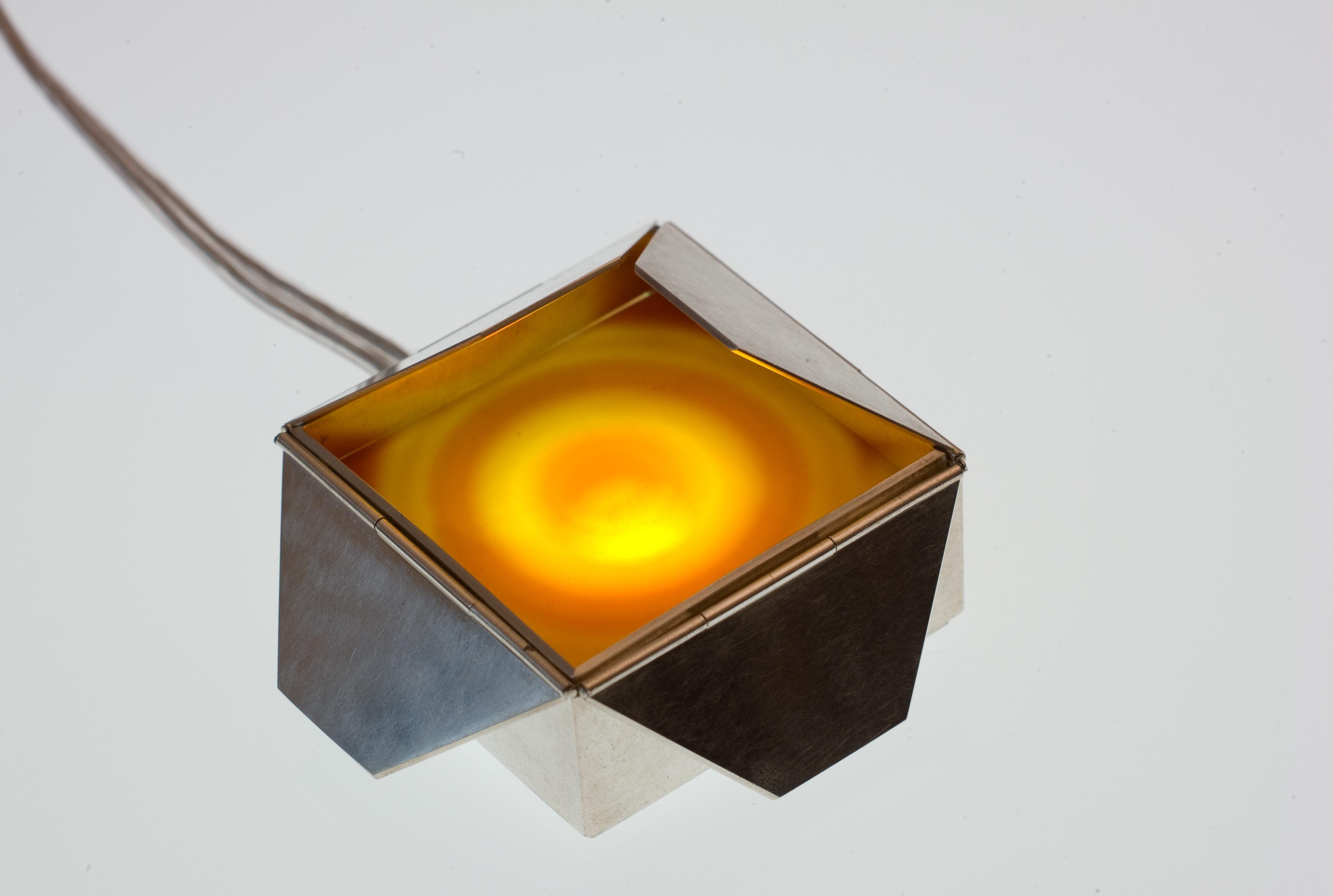 Schmucklicht 'Schachtel', Achatscheibe, Silber 925 geschwärzt, LED – Bild 2