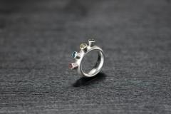 Ring, vier Turmaline, Silber 925