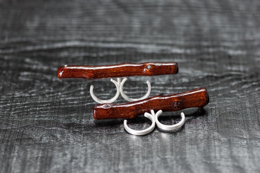 Urushi-Ring ,Stäggli' Silber 925 und Brillanten