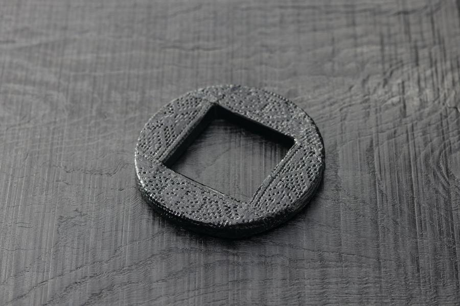 Urushi-Armreif Kreis-Quadrat, schwarzer urushi, Spitzendecke