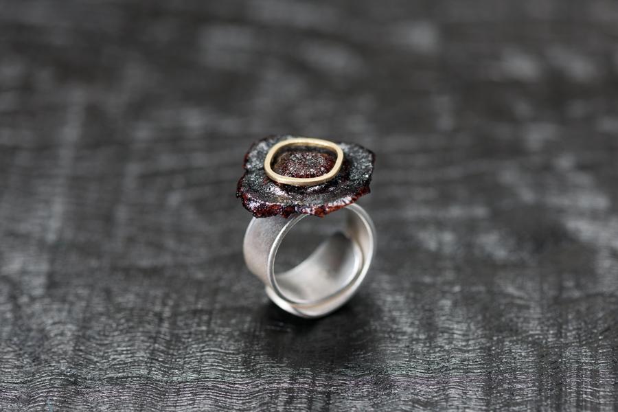 Urushi-Ring kaki Fruchtblatt, urushi, Gold 750, Silber 999 – Bild 2