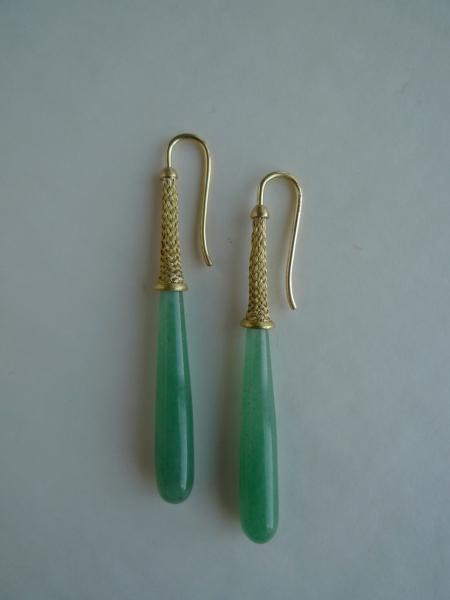 Ohrhänger geflochtenes Gold 750 mit Serpentin Pampeln