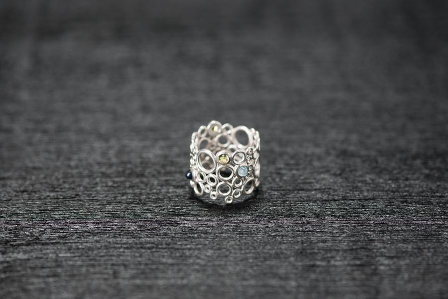 Bubble Ring, Silber 925, diverse Steine blau-grün
