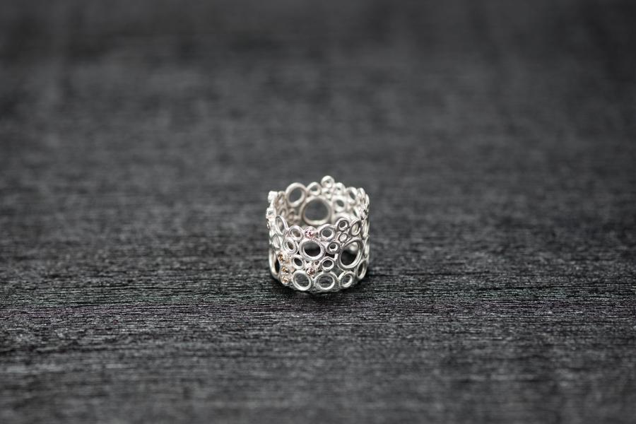 Bubble Ring, Silber 925, champagner Brillanten
