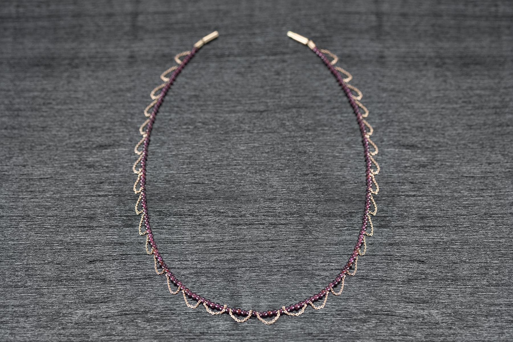 Kette Granat und Roségoldketten 750