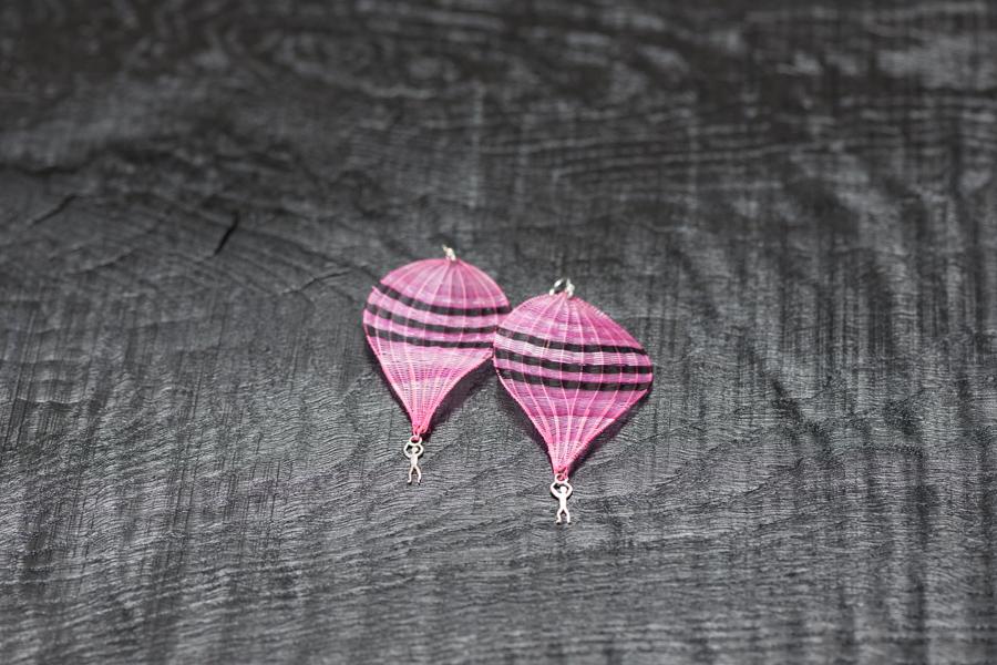 Crin Ohrschmuck Ballon pink, Pferdehaar, Silber 925