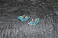 Crin Ohrschmuck Koralle blau, Pferdehaar, Silber 925