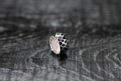 Urushi-Faltring schwarz schmal, Silber 925, urushi