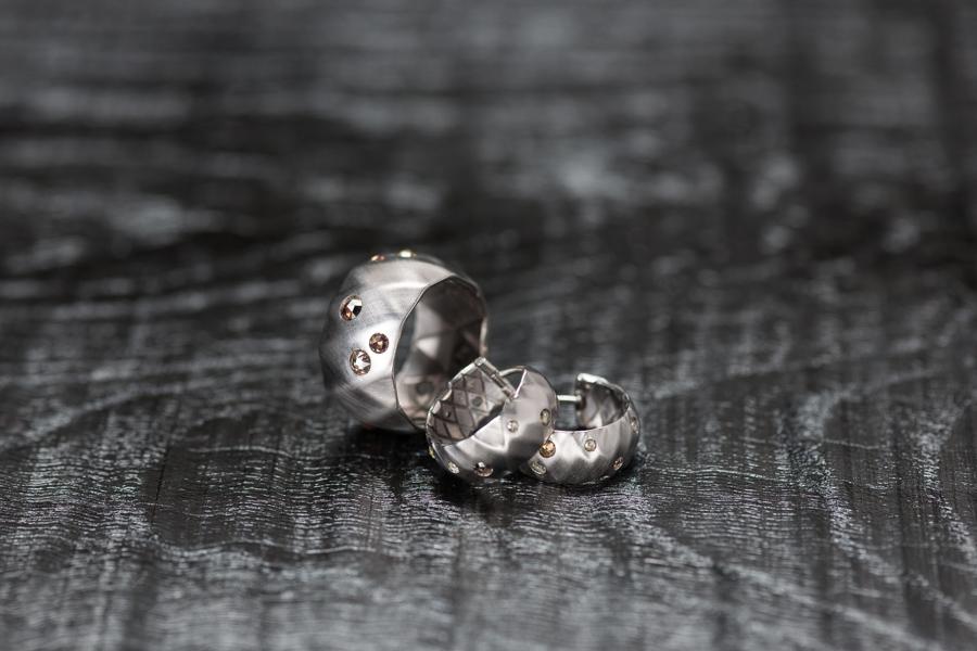 Faltring und Ohrcreolen, Weissgold 750 und Rosenschliff Diamanten