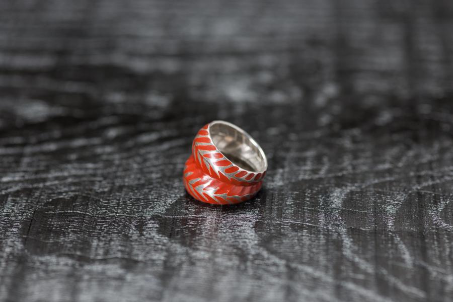 Urushi-Faltring orange doppel, Silber 925, urushi