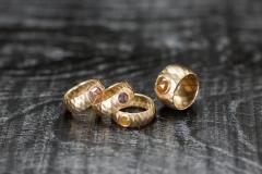 Faltringe, Gold 750 und rosenschliff Diamanten