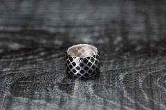 Urushi-Faltring schwarz breit, Silber 925, urushi