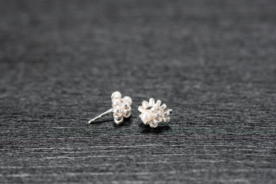 Ohrstecker Lamellen, Perlen, Silber 926