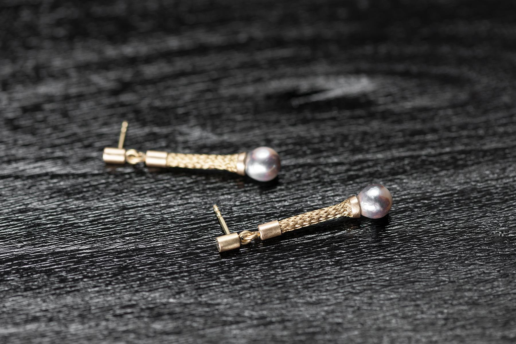 Ohrschmuck Perlen und geflochtenes Gold