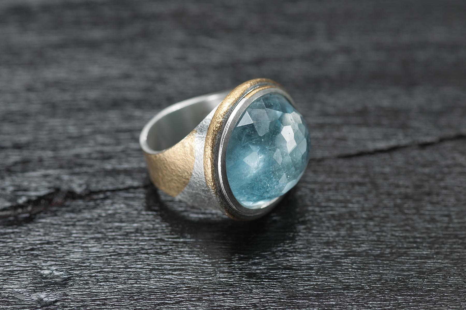 Ring Keumbo und Aquamarin, Silber 999, Gold 999