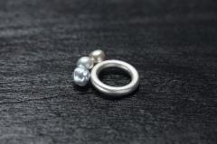 Ring mit drei Perlen aus Rotem Meer, Silber 925