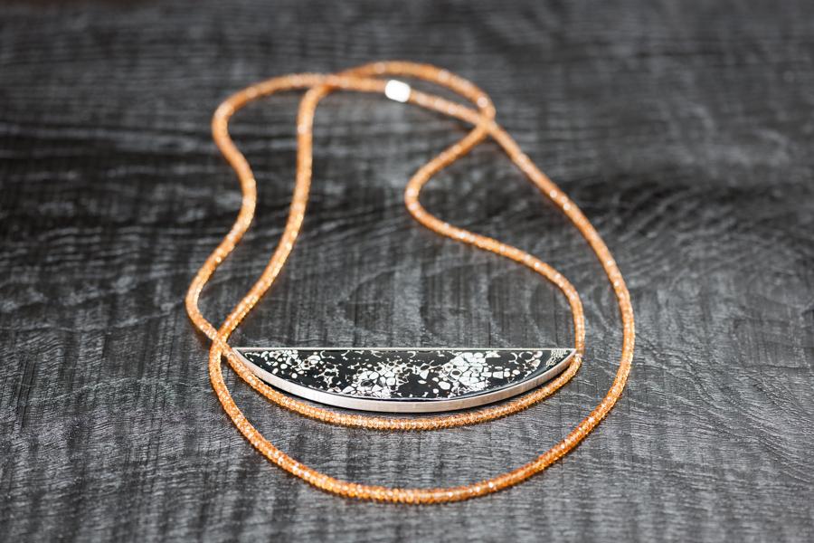 Urushi-Kette,'Mandarinente' rankaku urushi, Wachtelei, urushi, Mandaringranate, Silber 925