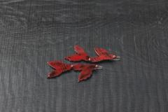 Urushi-Ohrschmuck doppelseitig rot-schwarz, urushi, Gold 750